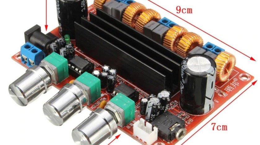 Kit modul AMPLIFICATOR AUDIO stereo 2.1 auto 2 x 50 w + 100w subwoofer clasa D
