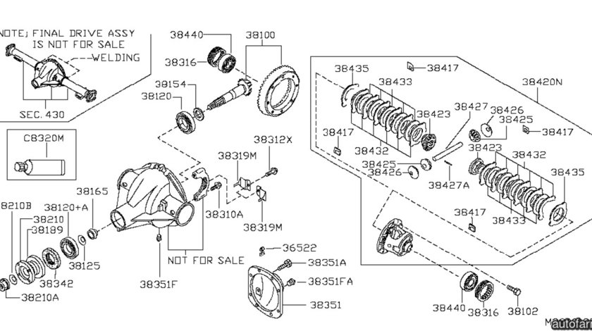 Kit reparatie diferential spate Nissan Navara (poz.38420N) NISSAN OE 38420EB01A