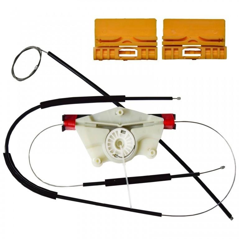 Kit reparatie Mecanism ridicare geam Audi A4 (B6 , B7) 2000-2008, Seat Exeo (3R) 2008-2013; usa Fata partea Stanga, cablu cu rola si suporti geam