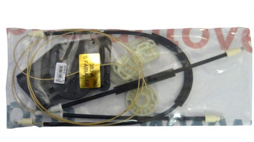 Kit reparatie Mecanism ridicare geam fata Skoda Fabia 1 fata dreapta electrica 2000-2007 (cablu role si suport geam)