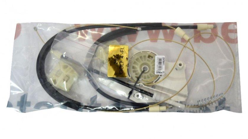 Kit reparatie Mecanism ridicare geam fata Vw Bora Vw Golf 4 5usi electrica fata stanga (cablu role si suport geam)