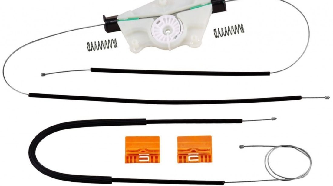 Kit reparatie Mecanism ridicare geam fata VW Touareg (7L) 10.2002-12.2006 electrica fata dreapta (cablu role si suport geam) Kft Auto