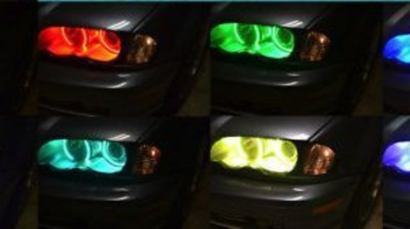 Kit RGB Led Angel Eyes BMW 16 culori cu telecomanda E46 cu LUPA