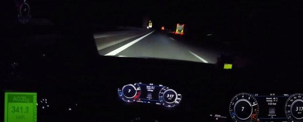La 317 km/h i-a dat eroare vitezometrului. Asa se vad 354 km/h de la volanul unui VW Golf
