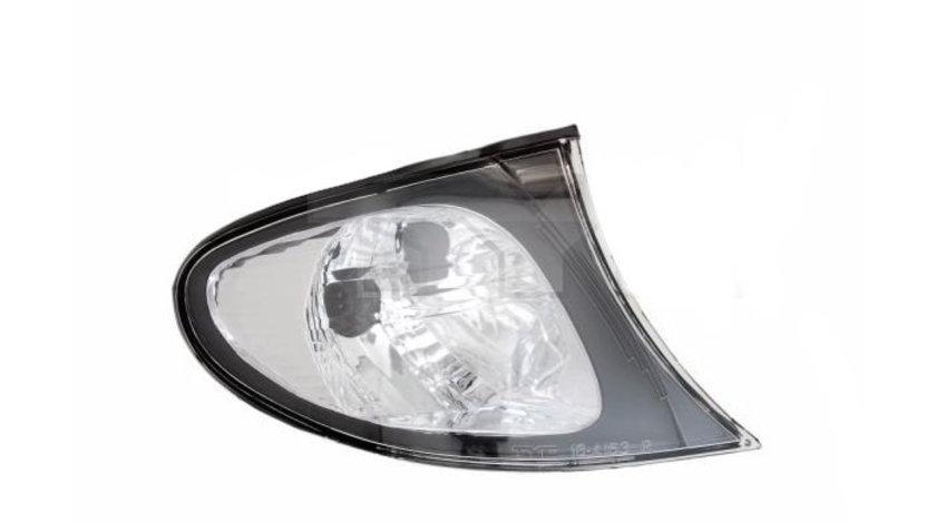 Lampa semnalizare fata Bmw Seria 3 (E46) Sdn/Combi,10.2001-06.2005, Stanga, omologare ECE, semnalizator alb, cu rama neagra, fara suport becuri, TYC, 63136914199, 63137165849 Kft Auto