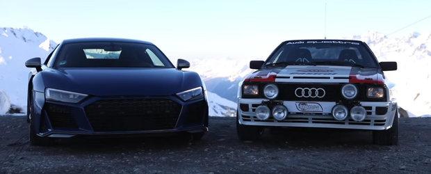 Legendarul Audi QUATTRO si noul R8 V10: intalnire de gradul 0 pe un drum montan din Alpi