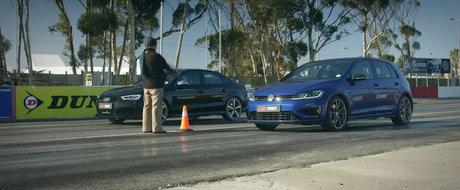 Liniuta care-i infurie pe fanii Volkswagen. Golf-ul R aliniat la start alaturi de Audi RS3 Sedan