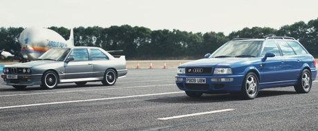 "LINIUTA cu aer... retro. BMW M3 E30 versus AUDI-ul cu motor ""tunat"" de Porsche"