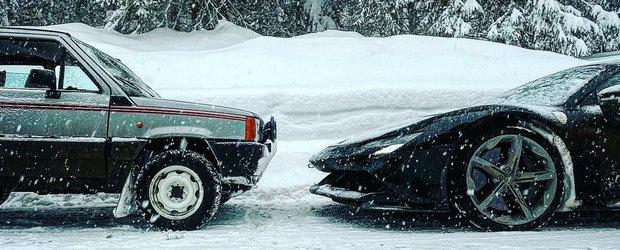 Liniuta de sezon. Fiat Panda 4x4 versus un Ferrari cu 1000 de cai putere pe zapada