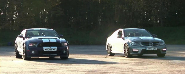 Liniuta pe 1.000 metri: Mercedes C63 AMG Coupe versus Shelby GT500 Coupe