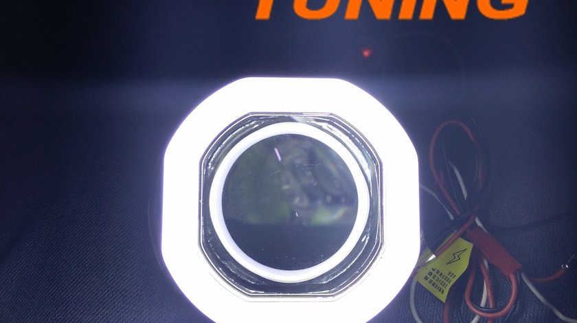 Lupe Bixenon patrate cu angel eyes LED - 400 lei setul