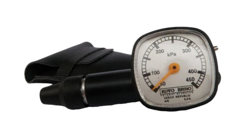 Manometru presiune aer Automax, 450 kPa, carcasa plastic, suport piele,