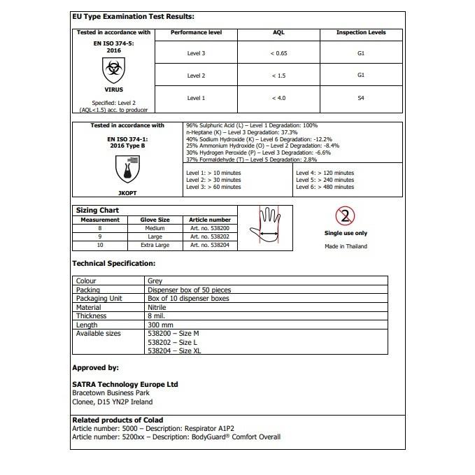Manusi Colad & Hamach Nitril Gri 538204CLD 50 Buc XL
