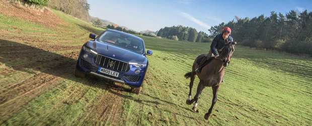Maserati le inchide gura carcotasilor. Levante se descurca bine in off-road impotriva unui...cal?!