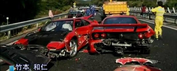 Mega accident in Japonia: 8 Ferrari-uri, 3 Mercedes-uri si un Lamborghini avariate serios