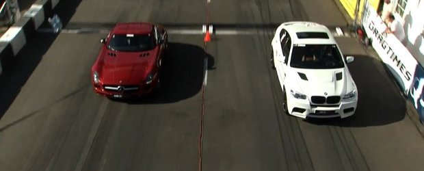 Mercedes-Benz SLS 63 AMG vs. BMW X6M - cursa de drag