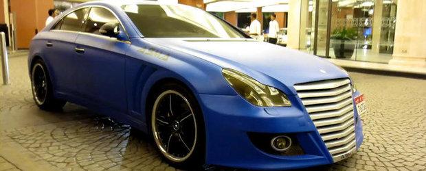 Mercedes CLS cu kit ASMA si folie bleu mat - Kitsch sau extravaganta?