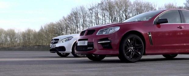 Mercedes E63 AMG vs Vauxhall VXR8 GTS: Cursa de acceleratie pe 1000 metri