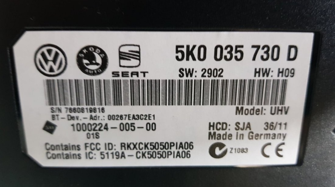 Modul bluetooth premium VW Golf 6 5k0035730d