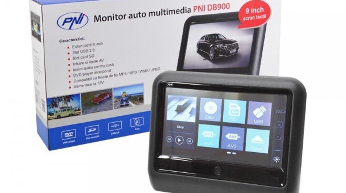 MONITOR AUTO TETIERA NEGRU ECRAN 9'' MERCEDES S CLASS TOUCHSCREEN DVD PLAYER SD USB PNI DB900 HD