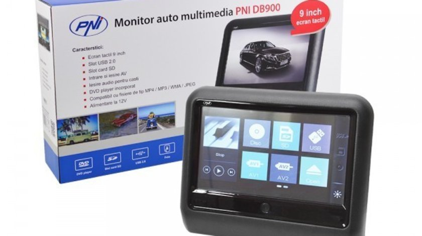 MONITOR AUTO TETIERA NEGRU ECRAN 9'' VW PASSAT B6 TOUCHSCREEN DVD PLAYER SD USB PNI DB900 HD
