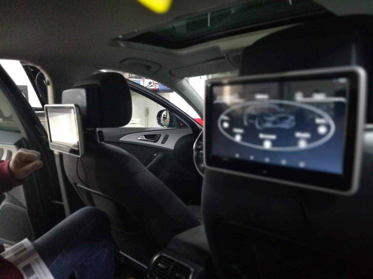 "MONITOR TETIERA CU ANDROID AUDI A4 TRAVELMATE 10"" USB SD 1080P INTERNET TOUCHSCREEN REZOLUTIE HD"
