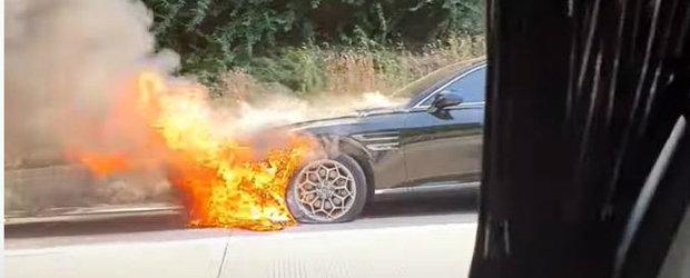N-a apucat sa se bucure nici o luna de masina. Sedanul care rivalizeaza cu Seria 5 a luat foc pe autostrada