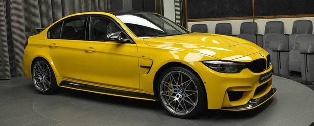 N-ai cum sa-l ratezi. Este probabil unicul BMW M3 in Speed Yellow din lume