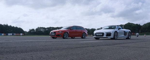N-or fi ele din aceeasi clasa, dar asta nu le impiedica sa se alinieze la start. Audi-ul RS6 Avant fata in fata cu R8-ul Spyder