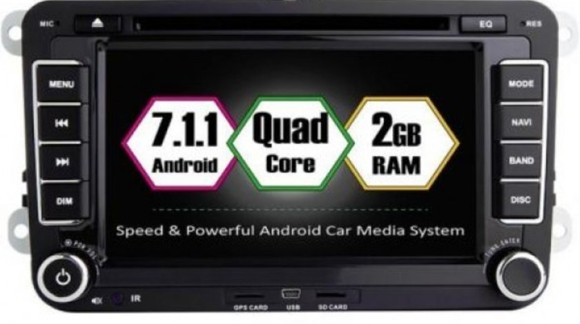 NAVIGATIE ANDROID 7.1.1 DEDICATA VW Caddy ECRAN 7'' CAPACITIV 16GB 2GB RAM INTERNET 3G WIFI QUA
