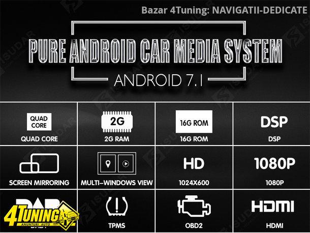 NAVIGATIE ANDROID 7.1 DEDICATA VW Passat B7 NAVD-A9240 ECRAN 8'' CAPACITIV 16GB 2GB RAM INTERNET 3G