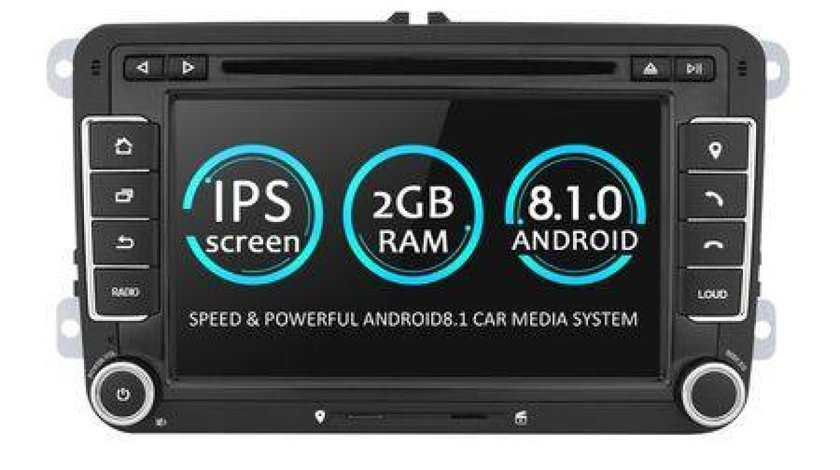 NAVIGATIE ANDROID 8.1 DEDICATA VW GOLF MK5 ECRAN IPS 7'' 16GB 2GB RAM INTERNET 3G WIFI QUAD-CORE