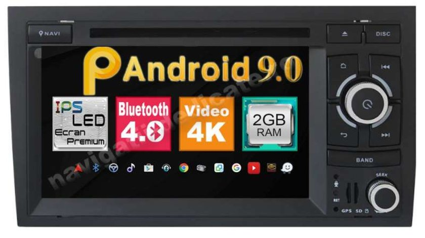 NAVIGATIE ANDROID 9.0 DEDICATA AUDI RS4 SECRAN IPS 7'' 16GB 2GB RAM INTERNET NAVD-MT050
