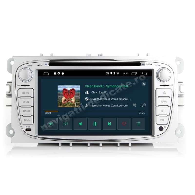 Navigatie Android 9.0 Ford FOCUS 2 Mondeo S-Max Transit Carkit Bluetooth USB Waze NAVD-MT9457