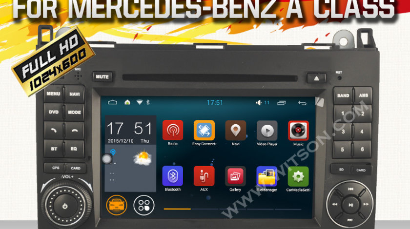 NAVIGATIE ANDROID DEDICATA MERCEDES VITO VIANO SPRINTER A B CLASS VW CRAFTER WITSON W2-A6916 WAZE