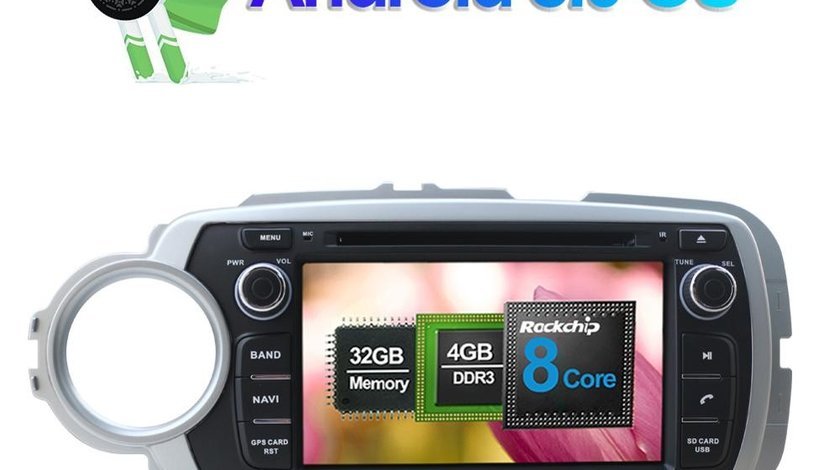 NAVIGATIE ANDROID DEDICATA TOYOTA YARIS 2012-2018 OCTA-CORE 4G RAM 32GB DVD DVR CARKIT GPS WAZE