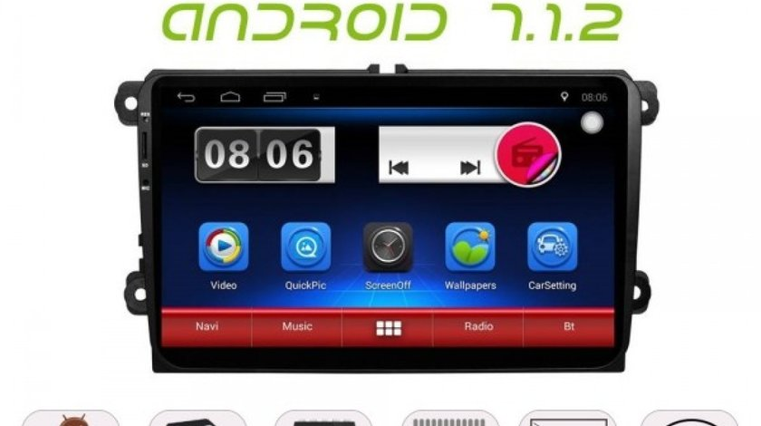 NAVIGATIE CARPAD ANDROID 7.1.2 DEDICATA VW EOS NAVD E305 ECRAN 9'' CAPACITIV 16GB INTERNET