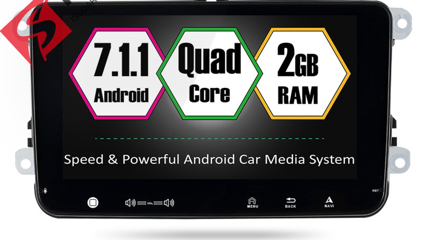 NAVIGATIE CARPAD ANDROID 7 DEDICATA Skoda Rapid ECRAN 9'' CAPACITIV 16GB 2GB RAM INTERNET 4G WIFi