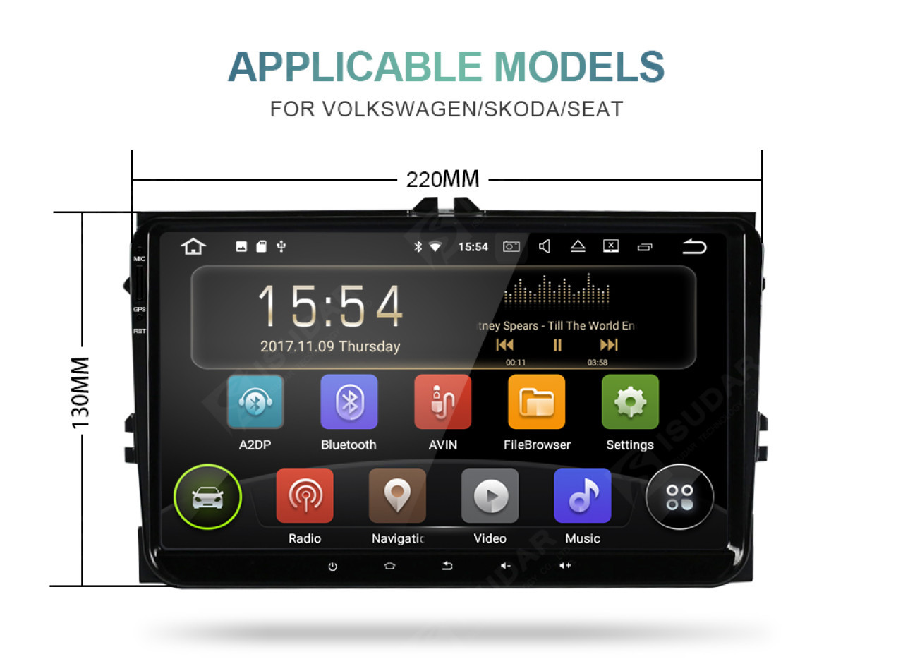 NAVIGATIE CARPAD ANDROID DEDICATA VW Caddy 2007 NAVD-MT9800 9'' 16GB 2GB RAM GPS WAZE CAMERA BONUS!