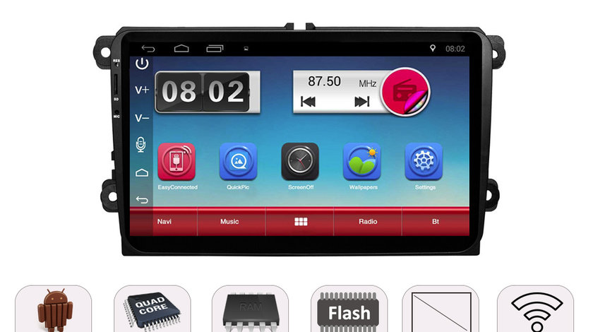 NAVIGATIE CARPAD ANDROID DEDICATA VW Golf 6 EDONAV E305 ECRAN 9'' CAPACITIV 16GB INTERNET 3G