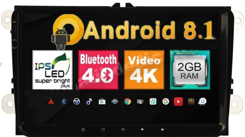 NAVIGATIE CARPAD ANDROID DEDICATA VW Touran NAVD-MT9800 9'' 16GB 2GB RAM GPS WAZE CAMERA BONUS!