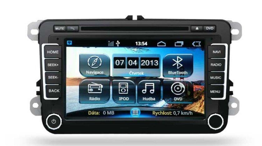 Navigatie dedicata cu GPS , Radio, Handsfree , DVD Ipod pentru Skoda Octavia 2 Fabia 2 Superb VW Golf 5 6 Passat B6 B7 Jetta cu sistem Android 4.3 Kft Auto