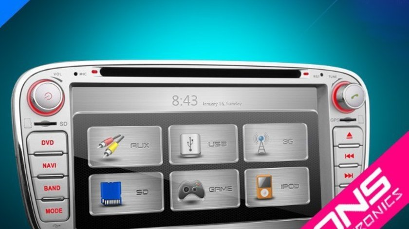 NAVIGATIE DEDICATA FORD MONDEO FOCUS 2 S-MAX GALAXY TOURNEO XTRONS PX71FSF-S DVD PLAYER GPS CARKIT 3