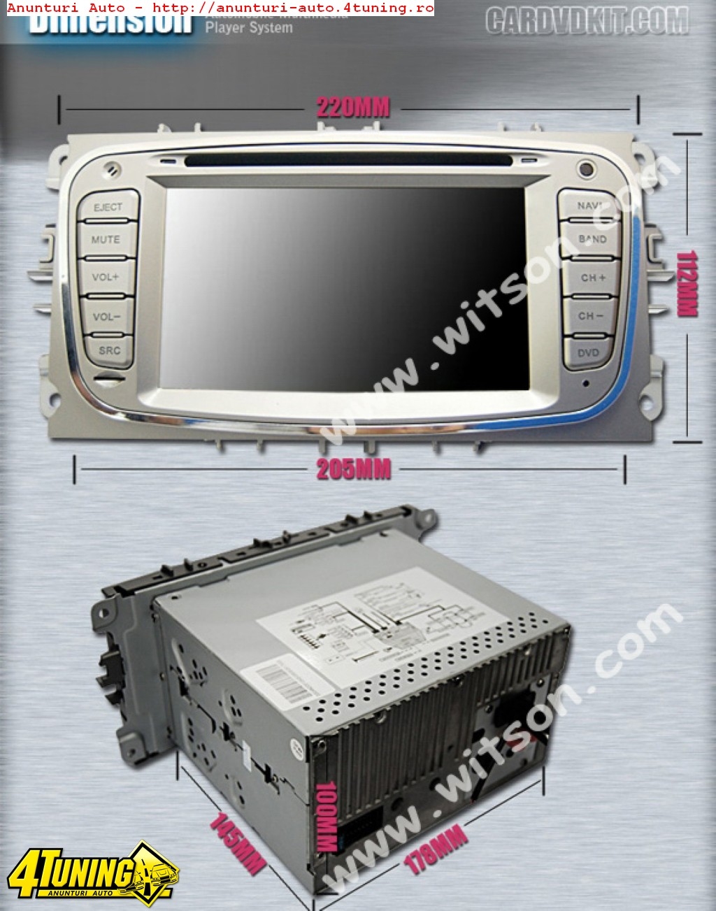 NAVIGATIE DEDICATA FORD MONDEO MK4 2007 - 2011 EDOTEC K003 PLATFORMA S90 ECRAN CAPACITIV