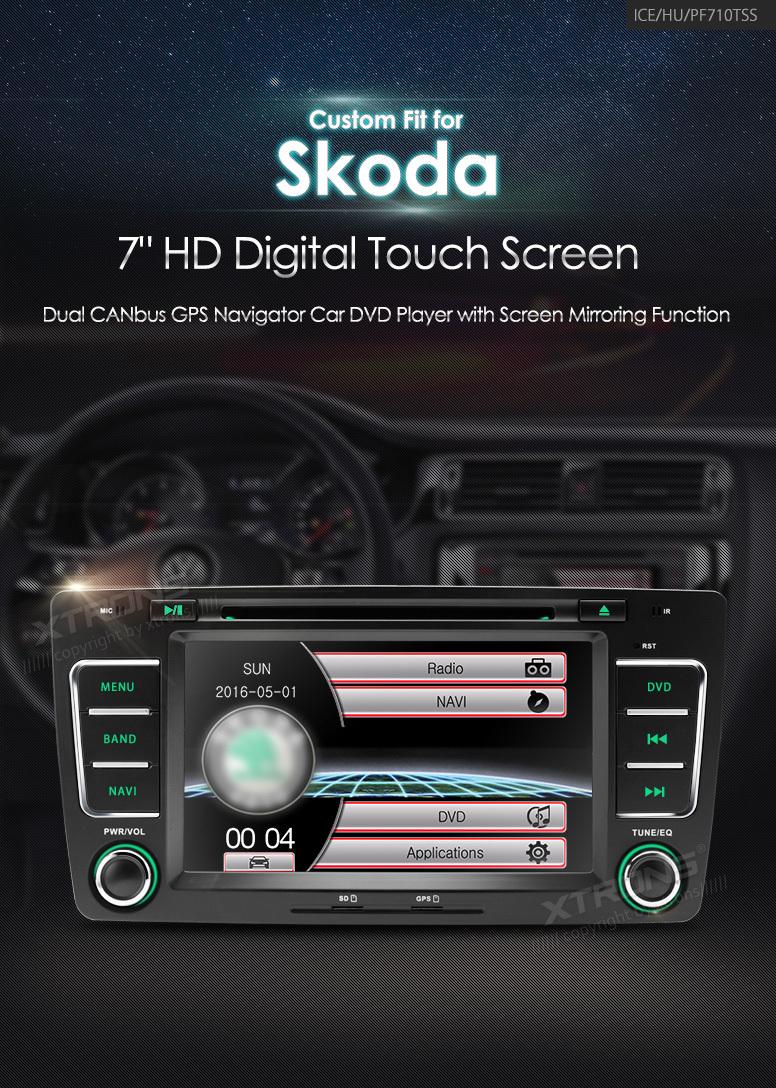 "NAVIGATIE DEDICATA SKODA OCTAVIA 2 MODEL XTRONS PF710TSS ECRAN 7"" MENIURI OEM DVD USB GPS CARKIT"