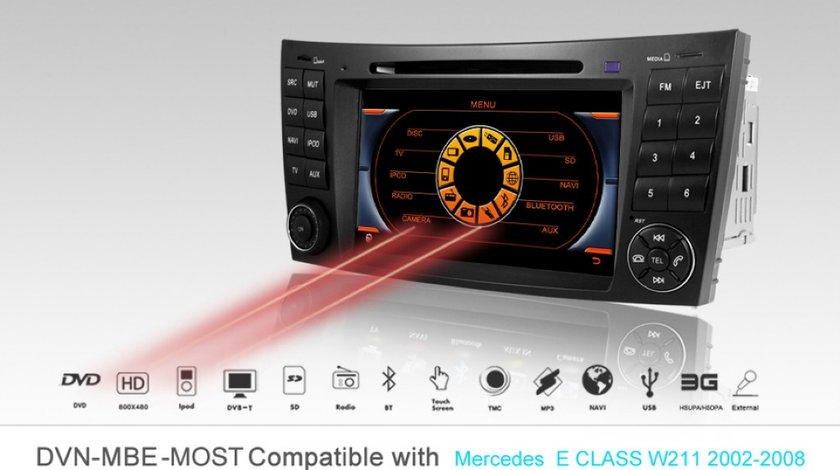 Navigatie Dynavin Dedicata Mercedes CLASA E W211 Fibra Optica Dvd Gps Carkit Internet 3g Tv