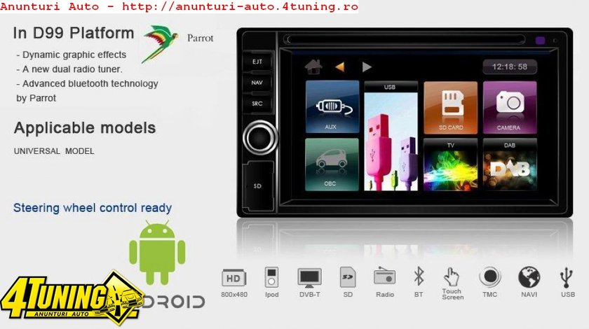 Navigatie Dynavin Dvn 6205 D99 Android Dedicata VW PASSAT B5 Internet 3g Wifi Gps Dvd Carkit Usb Model Premium Modem Wifi Gratuit
