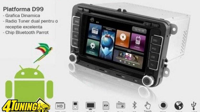 Navigatie DYNAVIN DVN VW D99+ ANDROID Dedicata Vw PASSAT B6 Platforma D99 Android 2 3 Internet 3g Wi Fi Carkit Parrot Dual Radio Tuner MODEL PREMIUM