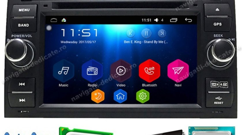 Navigatie Ford FOCUS 2 ANDROID 7.1Octa Core 2GB RAM INTERNET WAZE NAVD-T9488