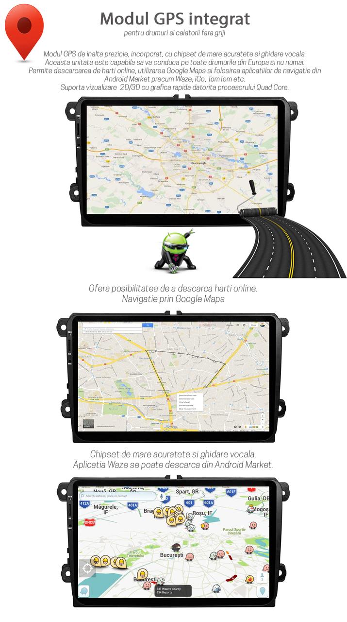 "Navigatie GPS Auto Multimedia Audio Video cu Touchscreen HD 9"" Inch, Android, Wi-Fi, BT, USB, Volkswagen VW Golf 5 V"